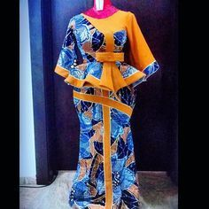 Peplum ankara skirt and blouse: check out 25 creative and stylish peplum ankara skirt and blouse to rock Long African Dresses, African Lace Styles, African Print Dresses, 50s Dresses, Elegant Dresses, African Fashion Ankara, Latest African Fashion Dresses, African Print Fashion, Ankara Skirt And Blouse