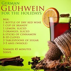 first batch came out way t… Gluhwein recipe. first batch came out way too strong when I tried to be over creative Fun Drinks, Yummy Drinks, Alcoholic Drinks, Dry Red Wine, Oktoberfest Party, Christmas Drinks, Christmas Wine, Xmas, Christmas Markets