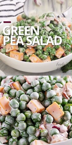 The creamy pea salad with bacon and cheddar is the best summer side dish. This easy pea salad recipe contains peas, bacon, cheese, onions and mayonnaise vinaigrette. food video, recipe video salad with bacon Pea Salad Recipes, Salad Recipes For Dinner, Salad Recipes Video, Chicken Salad Recipes, Healthy Salad Recipes, Recipe For Pea Salad, Pea And Peanut Salad Recipe, Salads For Dinner, Kitchen