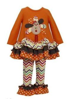 Girls Thanksgiving Dress & Chevron Legging Set Newborn to 6 Years Now in Stock