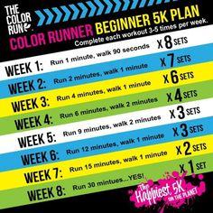 Color Run Beginner 5k Plan - learning to jog #colorrun #jogging - StuckAtHomeMom.com  See more like this at gympins.com