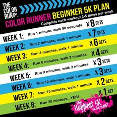 Color Run Beginner 5k Plan - learning to jog #colorrun #jogging - StuckAtHomeMom.com  See more like this at gympins.com