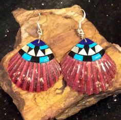 Native American Jewelry Dark Purple Scallop Shell Earrings Inlaid with Turquoise, Mother of Pearl, Onyx and Lapis by AZNativeTreasures on Etsy