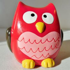 Red-and-Pink-Owl-Pottery-Figure-Coin-Bank-Whimsical-Eyes