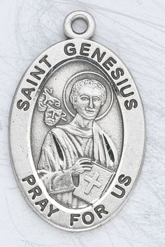 Sterling Silver Oval Medal Necklace Patron Saint St. Genesius with 20' Stainless Steel Chain in Gift Box. Catholic Saint Genesius Patron Saint of Actors, Epilepsy, Musicians, Printers, Secretaries, Stenographers, Theatrical Performers, Comedians, Dancers, Dance Instructors, Lawyers, ** Details can be found by clicking on the image.