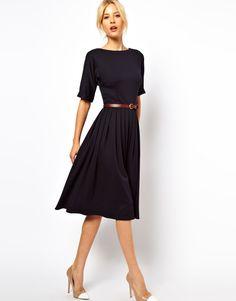 Asos Midi Dress with Full Skirt and Belt in Blue (navy) - Lyst