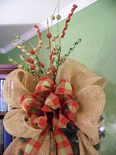 christmas tree with burlap ribbon | For Sale – Burlap Red & Green Plaid Deco Mesh Christmas Tree Topper ...