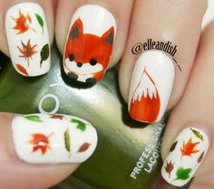 leaves fox fall lovely nails