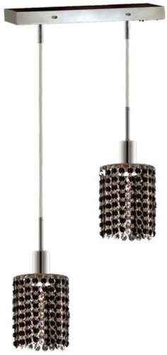 black Crystal Mini Pendant Lights | ... Mini 2 Lights Pendant In Chrome With Strass Swarovski Jet Black