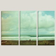 3 Panel Canvas Art, Tropical, Surf, Black Sand Beach, Vintage, Triptych, Islands, Stunning, Home Decor - Wednesday Morning - READY TO HANG