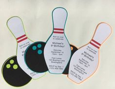 Bowling Party Bowling Pin and Ball Invitation Cards Set of