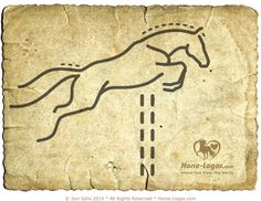 Jumping Horse Logo Graphic Design by Joni Solis of Horse-Logos.com -- A hunter/Jumper horse with neat braids sailing over a jump. This horse logo has simple lines to make for an easy read, but careful attention has been paid to the horse's form and proportions to impart the feel of motion and grace. #horselogo #horseart #equine