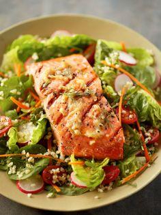 Garlic Grilled Alaska Salmon Salad