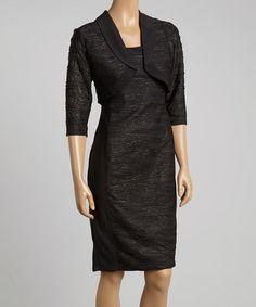 This Black & Gold Sheath Dress & Bolero - Women is perfect! #zulilyfinds