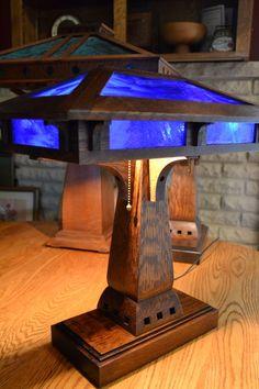 Prairie Craftsman Desk Lamp With Blue Cobalt Slag Glass