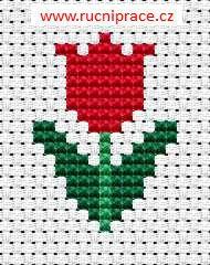 Little tulip, free cross stitch patterns and charts - www.free-cross-stitch.rucniprace.cz