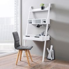 Kristina Retro Ladder Style Computer Desk In White With Storage £199.95