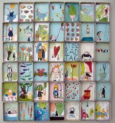 Stützrad-Tag uli krappen - Health and wellness: What comes naturally Matchbox Crafts, Matchbox Art, Art Altéré, Paper Art, Paper Crafts, Collaborative Art, Art Club, Art Plastique, Teaching Art