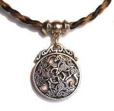 Geflochtenes Pferdehaar Halskette mit Zinn Epona von myhorsemyheart