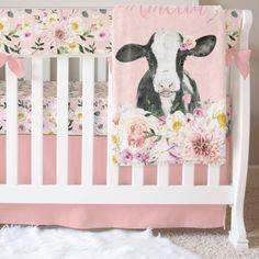 Cow Nursery, Baby Girl Nursery Themes, Baby Theme, Jungle Nursery, Baby Rooms, Nursery Room, Nursery Ideas, Nursery Decor, Pink Crib Bedding