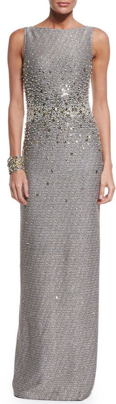 St. John Collection Bauble Knit Embellished Column Gown