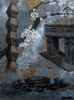 "Constantin Brancusi... Masa Tacerii, Poarta Sarutului, Coloana fara sfarsit Constantin Brancusi... Table of Silence, the Gate of the Kiss, The Infinity Column ""ninge pe masa tacerii, ninge cu flori albe de cais..."" -acrylics on canvas-"