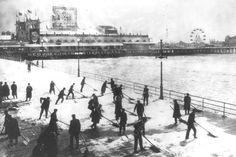 Coney Island Steeplechase Snow Clearing 4x6 1920s Photo Here is a neat collectible from the Steeplechase Park from Coney Island showing men clearing snow from the boardwalk in the 1920s. This is an ex