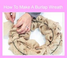 How to make a burlap wreath video tutorial at sewlicioushomedecor.com