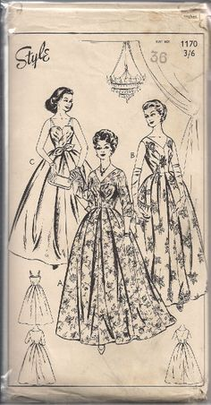Vintage Evening Dress Sewing Pattern