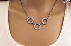 SWAROVSKI TRIPLE ETERNITY, necklace, circle, clear crystal, chain, meaning, bridal,ant silver, dksjewelrydesigns