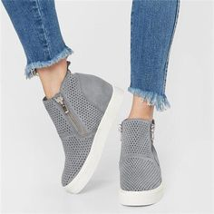 8d097315b72 Breathable Hollow-out Wedges Sneakers Zipper Casual Wedge Heel Boots -  beaike Wedge Tennis Shoes