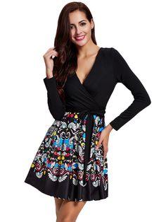 Sale 12% (31.99$) - Women Printing Patchwork V-Neck Long Sleeve Sash Mini Dress