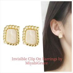 ✨Clear clip on earrings are totally pierced look and comfortable! These are 8 hours wearable clip on earrings! Available at MiyabiGrace. #etsy #jewelry #earrings #RhinestoneClipOnEarrings #minimalist #nonpierced #nopiercing #Accessories #metalallergy #cliponearrings #clipearrings #invisiblecliponearrings #metalfreeearrings #hypoallergenic #pretty #cliponstudearrings #comfortablecliponearrings #fashion #style #MiyabiGrace #omegaearrings #bridalclipearrings #prom #crystalearrings #crystal Crystal Earrings, Clip On Earrings, Dangle Earrings, Pierced Earrings, Gold Pearl, Ear Piercings, Pearls, Crystals, Prom