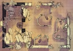 The Desert Ruins, a battle map for D&D / Dungeons & Dragons, Pathfinder, Warhammer and other table top RPGs. Tags: wilderness, fort, camp, town, desert, ruins, temple