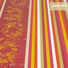 jubelis® Premium Wachstuch wetterfester Tischbelag extradick Florence orange bunt gestreift