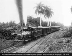 The American Railroad Company locomotive (c1910) departing from Mayaguez | Puerto Rico