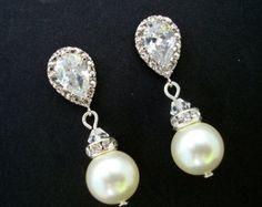 Orecchini nuziali, orecchini di perle, perle strass orecchini, orecchini sposa, orecchini swarovski perla, zirconi, AUDREY