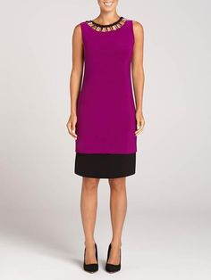 """Laura Petites: for women 5' 4"""" and under. Looking to leave an impression this Fall? Look no further than this Frank Lyman dress. With a striking magenta and black palette, and a neckline punctuated by metallic detailing, it truly is an unfo...4030101-0162"""