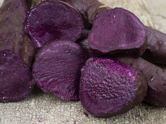 Purple-fleshed type that is a locally-developed, signature type on the islands, but seldom offered elsewhere. Much higher in antioxidants than orange-fleshed types. Very sweet-fleshed and creamy, with overtones of chestnut in the flavor. Perfect as-is whe