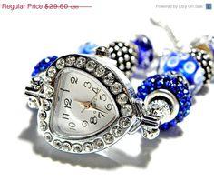 european Beads bracelet Watch navy blue by CookalasHouseOfCards, $24.35