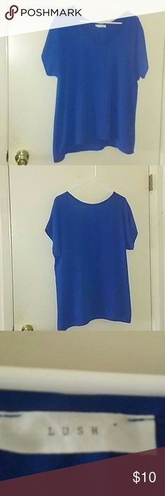 Lush blue scoop neck short sleeve blouse Blue scoop neck short sleeve blouse by Lush.  In good condition.  Shows minor fraying, see pic.  Other than that, it's in pretty good condition.  Light weight material.  100% polyester.  Not sheer.  Size medium.  Dry clean only.  No paypal or trade.  Discount on bundles.  Reasonable offers welcome, just use offer button. Lush Tops Blouses