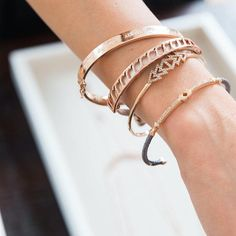 Dainty cuffs stack for a statement look. #rosegold #stelladotstyle www.stelladot.com/laurendion