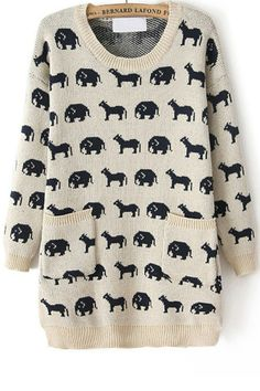 Relaxed Animal Sweater - OASAP.com