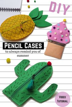 DIY Pencil Cases: Cactus, Pineapple and Cupcake - New Video Tutorial. Easy DIY for Back to School 2017 Source by owlipop Diy Crafts To Sell, Crafts For Kids, Cupcake Liner Crafts, Cupcake Liners, Octopus Crafts, Diy Pencil Case, Pencil Case Tutorial, Puppets For Kids, Pencil Bags
