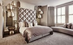 While glittering living rooms and blinding entryways are often the rule, Luxury Master Bedroom interior design is more restrained. Elegant Home Decor, Luxury Home Decor, Elegant Homes, Luxury Interior, Interior Design, Room Interior, Modern Interior, Apartment Master Bedroom, Home Bedroom