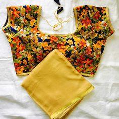 Pure Georgette zari border saree with bangalori satin prints blouse