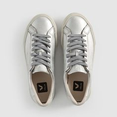 Baskets ESPLAR LEATHER SILVER Veja