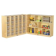 ECR4Kids Birch Fold  Lock Storage Cabinet with 8 Cubbies25 Trays 25 Scoop Front Bins 36H Clear ** Find out more about the great product at the image link.