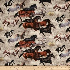 Happy Trails Allover Horses Earth from @fabricdotcom Designed by Victoria Schultz for Elizabeth's Studio, this cotton print fabric is perfect for quilting, apparel and home decor accents. Colors include shades of brown, purple, peach, blue, yellow, black, and white.