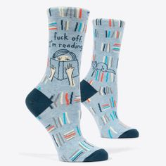 Shop Blue Q Women's Novelty Crew Socks (fit women's shoe size Free delivery and returns on eligible orders. Foot Socks, Ankle Socks, Women's Socks, Blue Q Socks, Reading Socks, Powder Blue Color, Gifts For Readers, Funny Socks, Crew Socks